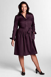 Women's Plus Size Long Sleeve Woven Pique Shirtdress