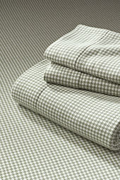 6-oz Flannel Houndstooth Sheet Set or Pillowcase