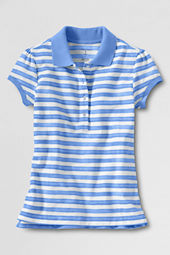 Girls' Short Sleeve Vintage Striped Mesh Polo Shirt