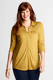 Women's 3/4-sleeve Drapey Knit Button-front Shirt