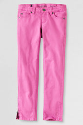 Girls' Garment Dyed Colored Denim Zip Hem Pencil Jeans