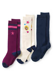 Girls Pattern Knee High Socks (3-pack)