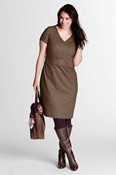 Women's Plus Size Woven Piped Dress