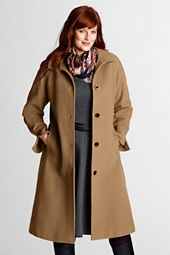 Women's Plus Size Wool Coat with Contrast Trim