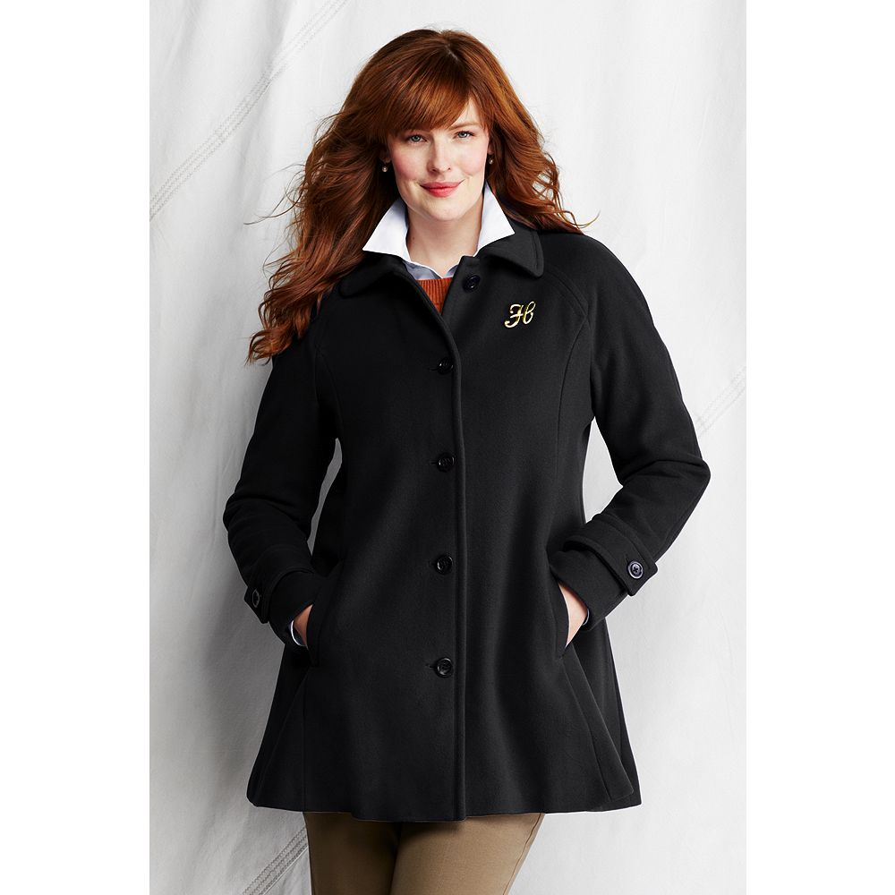 Lands' End Women's Plus Size Luxe Wool Swing Coat at Sears.com