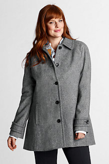 Women's Plus Luxe Wool Blend Pattern Swing Coat