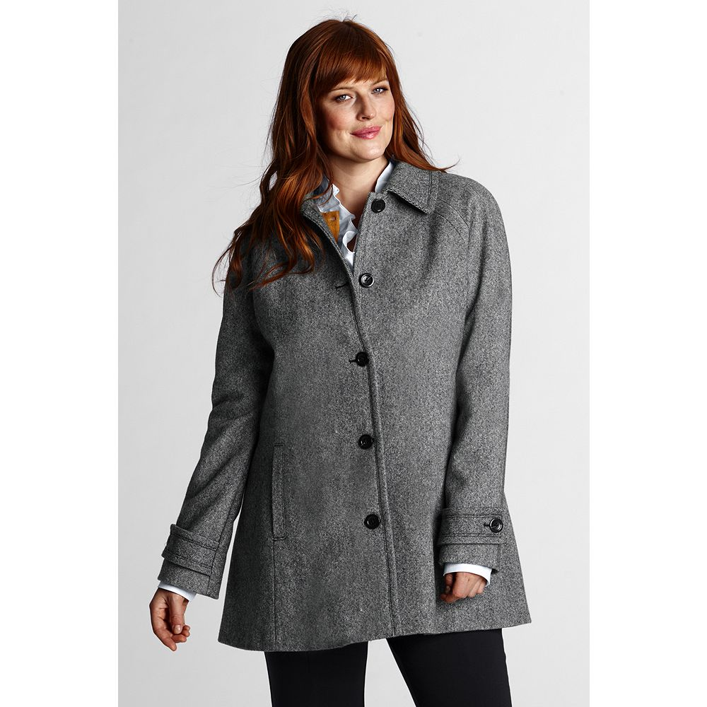 Lands' End Women's Plus Size Pattern Wool Swing Coat at Sears.com