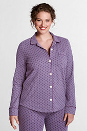 Women's Plus Button-front Jersey Pyjama Top