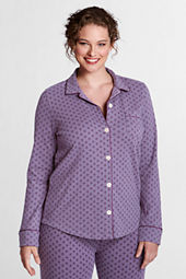 Women's Plus Size Pattern Cotton Interlock Notch Collar Sleep Top