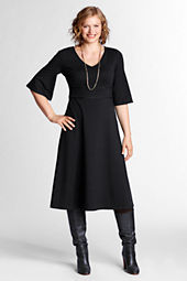 Women's Plus Size Elbow Length Bell Sleeve Drapey Ponté V-neck Dress