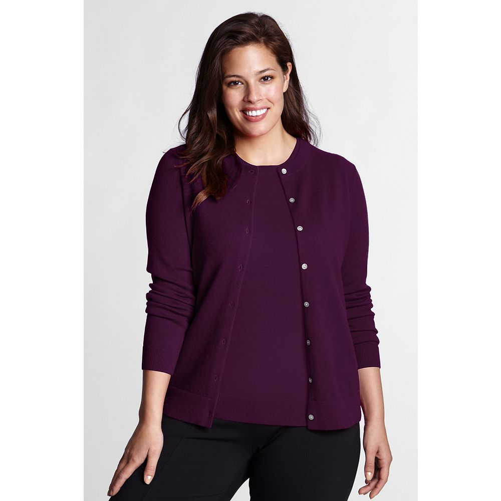 Lands' End Women's Plus Size Classic Cashmere Cardigan Sweater at Sears.com