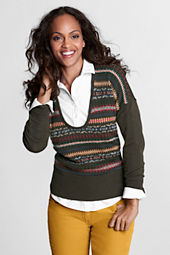 Women's Long Sleeve Fair Isle Drop Shoulder Merino Sweater