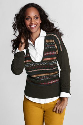 Women's Regular  Merino Fairisle Deep Scoopneck