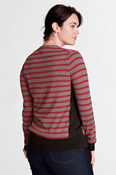 Women's Long Sleeve Stripe Italian Merino V-neck Cardigan
