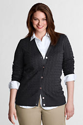 Women's Plus Size Long Sleeve Cotton Cable V-neck Cardigan