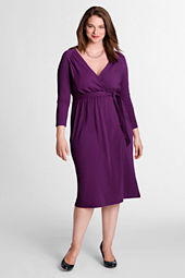 Women's Plus Size 3/4-sleeve Crepe Jersey Gathered Surplice Dress