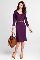 Women's 3/4-sleeve Pleat Front Drapey Ponté Sheath Dress