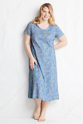 Women's Plus Size Short Sleeve Pattern Midcalf Satin Sleep-T
