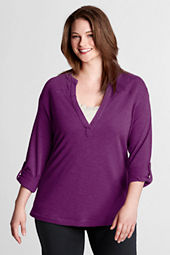 Women's Plus Size Roll Sleeve Mandarin Collar Tunic
