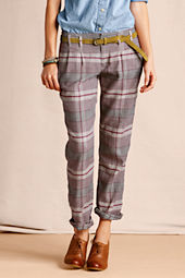 Women's Pleated Patterned Slim Slouch Pant