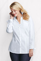 Women's Plus Size Long Sleeve Splitneck Stretch Tunic with Turnback Cuff