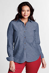 Women's Plus Size Long Sleeve Rounded Hem Chambray Shirt
