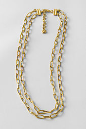 Women's Double Row Linear Oval Link Necklace