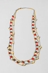 Women's Triple Row Coral Gold Necklace