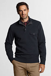 Men's Winter Rib Button Mock Pullover
