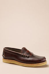 Men's Oak Street Bootmakers Brown Crepe Sole Beefroll Penny Loafer
