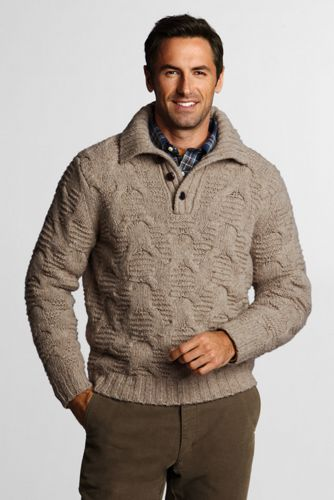 Offerta: Lands' End Men's Regular Merino/Alpaca blend Button Polo Neck