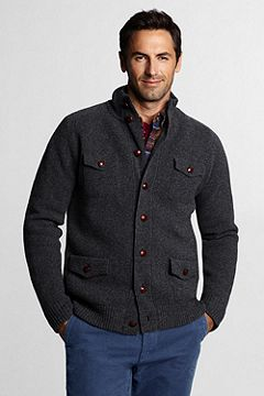 Lambswool Milano Button-front Cardigan Sweater 423653: Dark Charcoal Heather