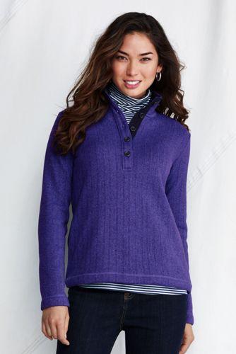 Strickfleece-Pullover mit Henley-Knopfleiste für Damen in Tall-Größe