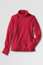 Girls' Long Sleeve Dot Print Tissue Turtleneck