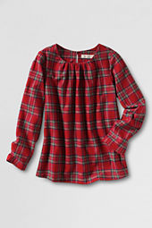 Girls' Long Sleeve Flannel Shirred Neck Shirt