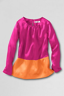 Girls Long Sleeve Shirred Neck Colour Block Top