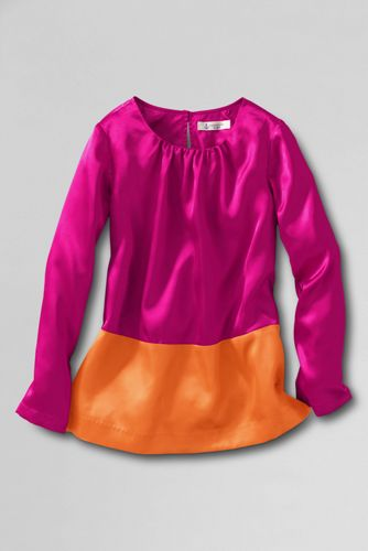 Little Girls Long Sleeve Shirred Neck Colour Block Top