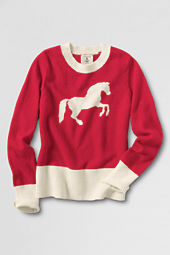 Girls' Long Sleeve Intarsia Crewneck Sweater