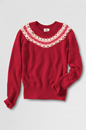 Girls' Pattern Intarsia Crewneck Sweater