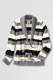Little Girls' Long Sleeve Shawl Collar Tie Cardigan