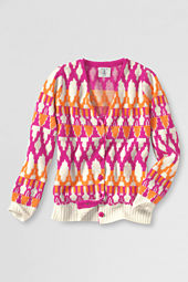 Girls' Pattern V-neck Sweater Cardigan