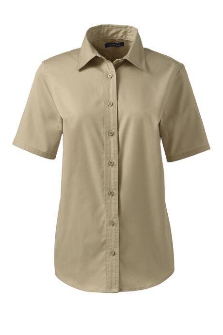 Women's Short Sleeve Basic Blend Twill Shirt