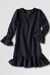 Girls' Long Sleeve Flocked Ponté Dress