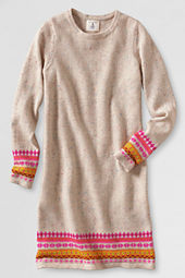 Girls' Long Sleeve Intarsia Sweater Dress