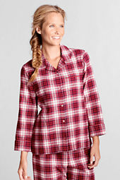 Women's Bracelet Sleeve Print Flannel Sleep Top