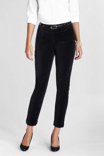 Women's Regular Slim-Leg Velvet Trousers