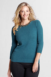 Women's 3/4-sleeve Embellished Wool Blend Crewneck Sweater