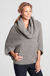 Women's Short Sleeve Boucle Cowl Sweater