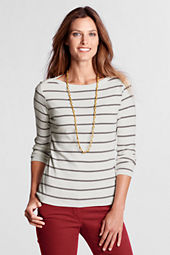 Women's Long Sleeve 1x1 Stripe Boatneck Top