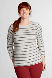 Women's Plus Size Long Sleeve 1x1 Stripe Boatneck Top